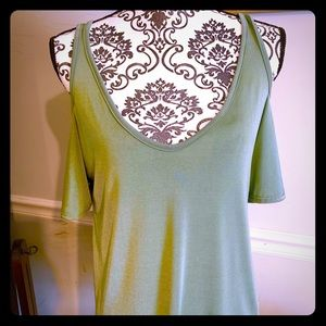 Beautiful Olive Green Cold Shoulder Top